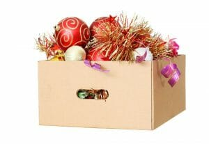 holiday decorations in a box with handles