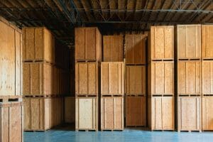 Wooden Crates stacked in a warehouse