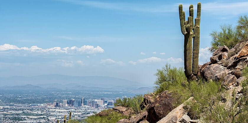 Photo of Phoenix Valley from the mountain top with cactus