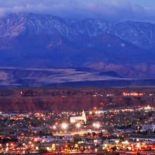 Photograph of St. George Utah with mountains in background