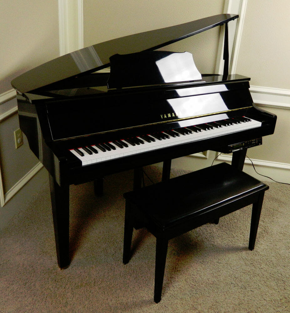 Baby grand piano set up and installation