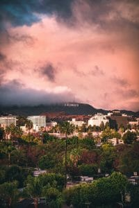 Los Angeles California with Hollywood sign