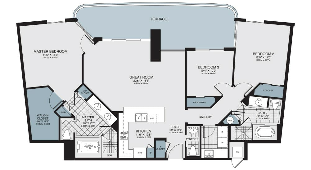 Floor Plan of high rise condo